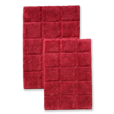 Cotton Checkers 2 Piece Bath Rug Set Color: Burgundy