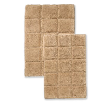 Cotton Checkers 2 Piece Bath Rug Set Color: Taupe