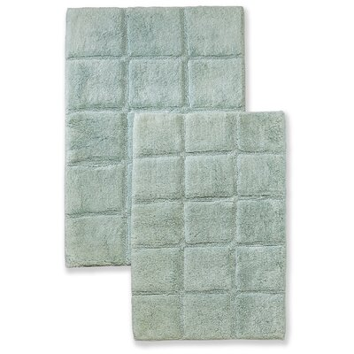Cotton Checkers 2 Piece Bath Rug Set Color: Sage