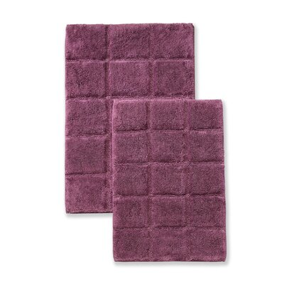 Cotton Checkers 2 Piece Bath Rug Set Color: Plum