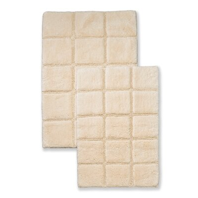 Cotton Checkers 2 Piece Bath Rug Set Color: Ivory