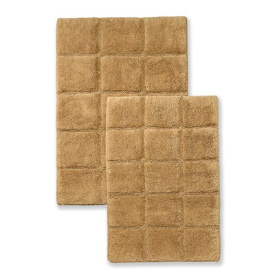 Cotton Checkers 2 Piece Bath Rug Set Color: Toast