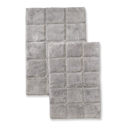 Cotton Checkers 2 Piece Bath Rug Set Color: Silver