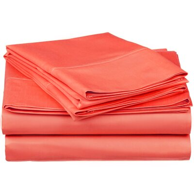 300 Thread Count Premium Long-Staple Combed Cotton Solid Queen Waterbed Sheet Set Color: Coral
