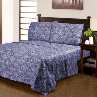 Burkes 300 Thread Count 100% Cotton Sheet Set Size: Full, Color: Blue