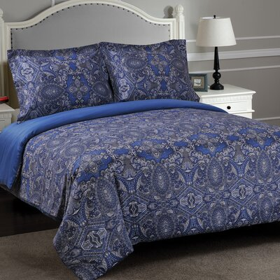 Burkes Damask Reversible Duvet Cover Set Size: Full/Queen