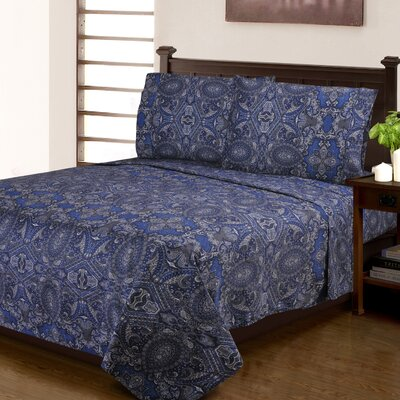 Burkes 300 Thread Count Paisley 100% Cotton Sheet Set Size: Full