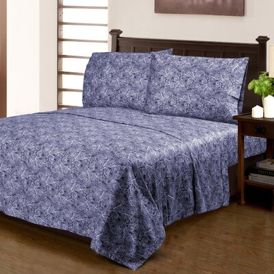Larksville 300 Thread Count 100% Cotton Sheet Set Size: Twin XL, Color: Blue