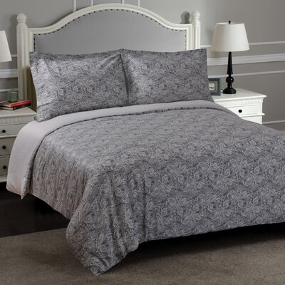 Larksville Reversible Duvet Cover Set Size: Full/Queen, Color: Gray