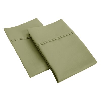 Cotton Rich 1200 Thread Count Pillow Case Size: Standard, Color: Sage