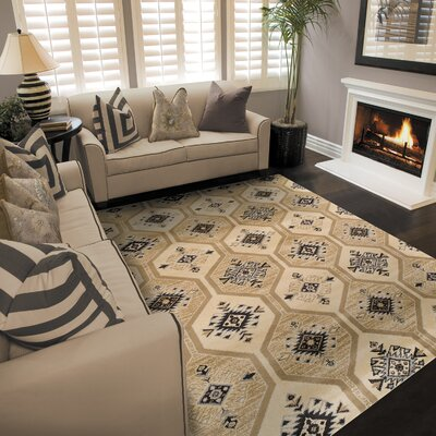 Aurora Cream/Tan/Black Area Rug Rug Size: 5 x 8