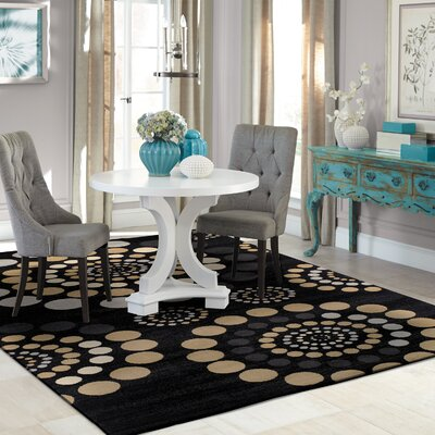 City Circle Black Area Rug Rug Size: 4 x 6