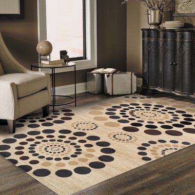 City Circle Cream Area Rug Rug Size: 5 x 8