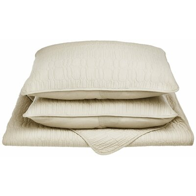 McKinley Reversible Quilt Set Color: Ivory, Size: King