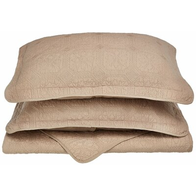 Corrington 3 Piece Reversible Quilt Set Color: Taupe, Size: King