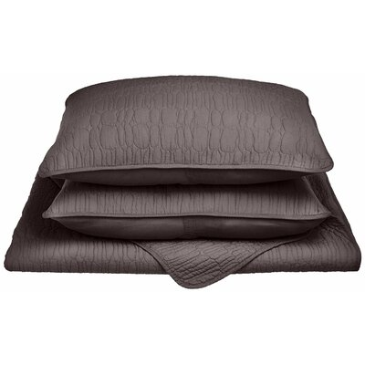 McKinley Reversible Quilt Set Color: Charcoal, Size: King