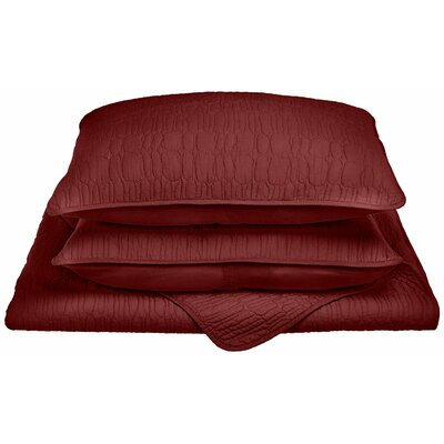 McKinley Reversible Quilt Set Color: Burgundy, Size: King