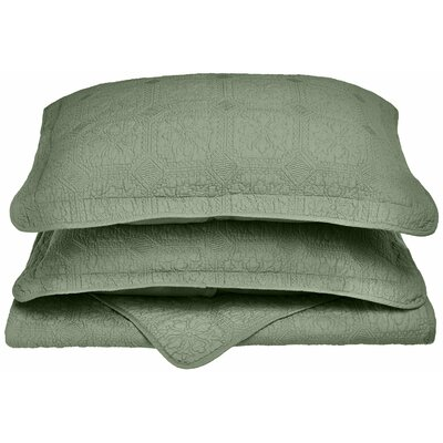 Corrington 3 Piece Reversible Quilt Set Color: Sage, Size: King