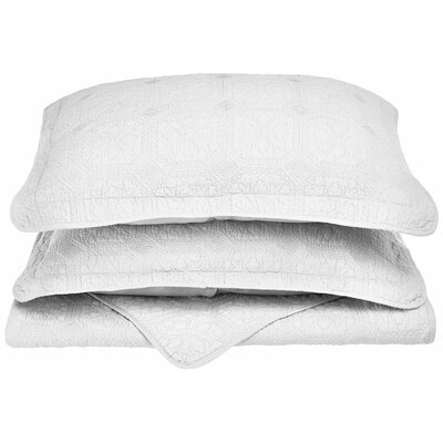 Corrington 3 Piece Reversible Quilt Set Size: Full/Queen, Color: White