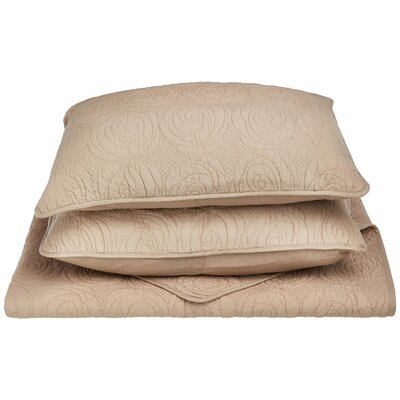 Channing Reversible Quilt Set Color: Taupe, Size: King