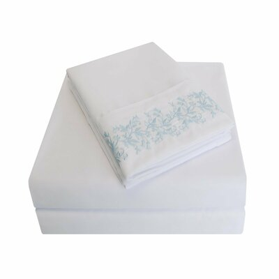 Garrick Microfiber Sheet Set Size: Queen, Color: White/Light Blue