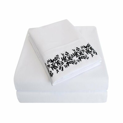 Garrick Microfiber Duvet Sheet Set Color: White/Black, Size: Full