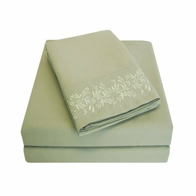 Garrick Microfiber Duvet Sheet Set Color: Sage, Size: Full