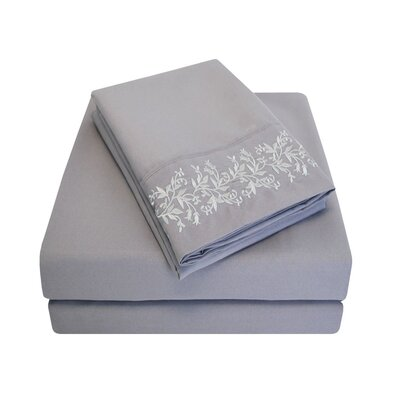 Garrick Microfiber Duvet Sheet Set Color: Gray, Size: California King