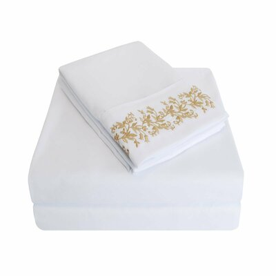 Garrick Microfiber Duvet Sheet Set Size: Queen, Color: White/Gold