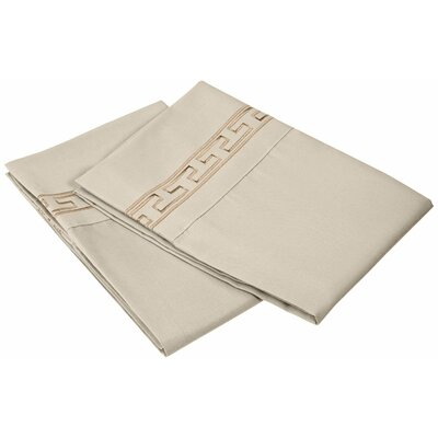 Garrick 3000 Series Solid Regal Embroidery Pillowcase Size: Standard, Color: Tan