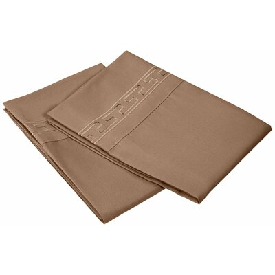 Garrick 3000 Series Solid Regal Embroidery Pillowcase Color: Taupe, Size: King
