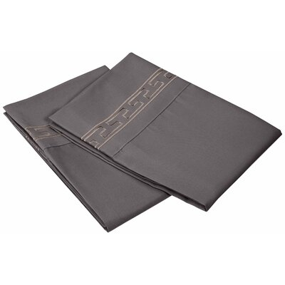Garrick 3000 Series Solid Regal Embroidery Pillowcase Size: King, Color: Silver