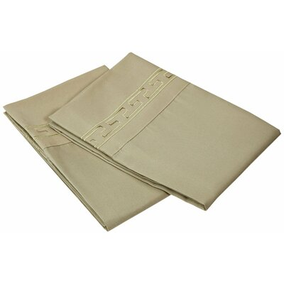 Garrick 3000 Series Solid Regal Embroidery Pillowcase Size: Standard, Color: Sage