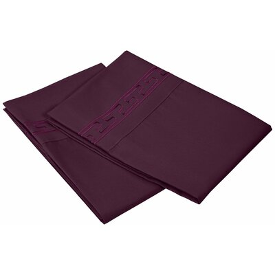 Garrick 3000 Series Solid Regal Embroidery Pillowcase Size: Standard, Color: Plum