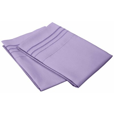 Miloe 3000 Series Solid-3 Line Embroidery Pillowcase Size: King, Color: Lilac