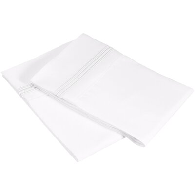 Garrick 3000 Series Solid 5-Line Embroidery Pillowcase Color: White, Size: King