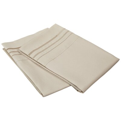 Miloe 3000 Series Solid-3 Line Embroidery Pillowcase Color: Tan, Size: Standard