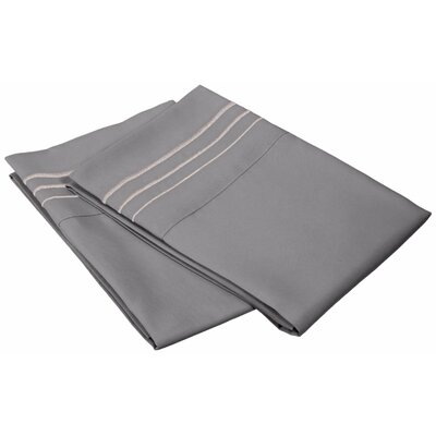 Miloe 3000 Series Solid-3 Line Embroidery Pillowcase Color: Silver, Size: Standard