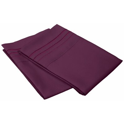 Lindsay  3000 Series Solid-3 Line Embroidery Pillowcase Color: Plum, Size: Standard