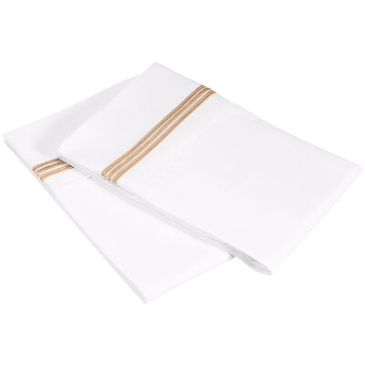 Garrick 3000 Series Solid 5-Line Embroidery Pillowcase Size: Standard, Color: White / Gold