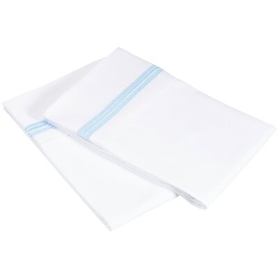 Garrick 3000 Series Solid 5-Line Embroidery Pillowcase Color: White / Light Blue, Size: King