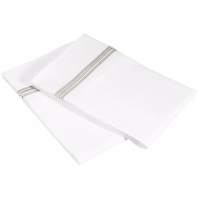 Garrick 3000 Series Solid 5-Line Embroidery Pillowcase Size: King, Color: White / Gray
