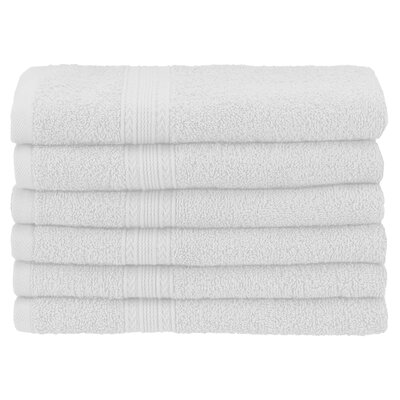 Ankara 6 Piece Hand Towel Set Color: White