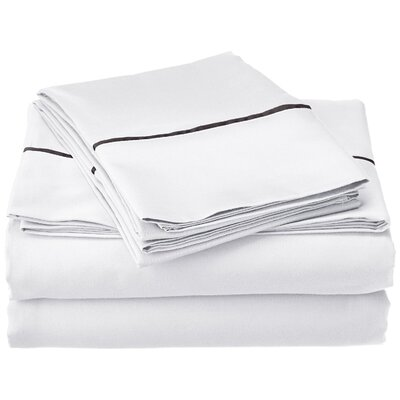 Bahama 600 Thread Count Sheet Set Size: Full, Color: White with Black Trim