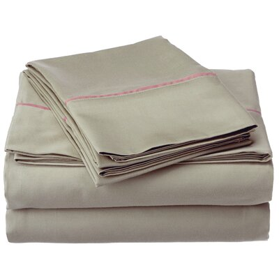 Bahama 600 Thread Count Sheet Set Color: Sage with Mocha Trim, Size: Queen