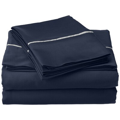 Bahama 600 Thread Count Sheet Set Size: Twin, Color: Navy Blue with Silver Trim