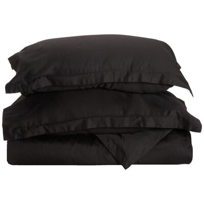 Reversible Duvet Cover Set Color: Black, Size: King / California King