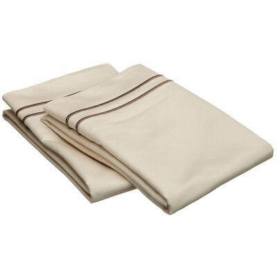 Patric 800 Thread Count Solid Pillowcase Size: King, Color: Ivory / Taupe