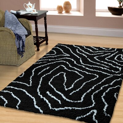 Superior Carelton Hand-Woven Black/Silver Area Rug Rug Size: Rectangle 5 x 8