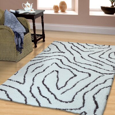 Superior Carelton Hand-Woven White/Gray Area Rug Rug Size: 5 x 8